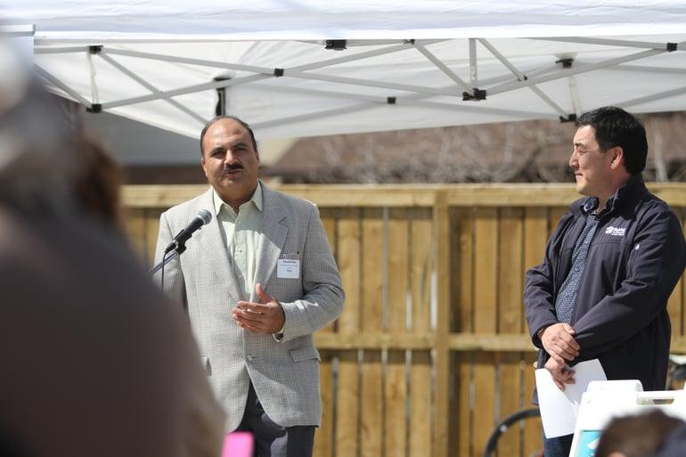 Habitat for Humanity home dedication in Calgary community of Pineridge